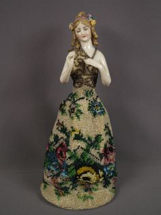 German Goebel Porcelain Fanny Elssler Lady Half Doll Figurine wearing a Beaded Gown Fantastic!