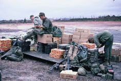 Re-supply,  Camp Evans 3rd/187th Helipad. February 1970