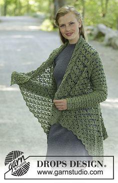 Crochet Patterns Jacket Ravelry: Green Envy pattern by DROPS design Gilet Crochet, Black Crochet Dress, Crochet Coat, Crochet Cardigan Pattern, Crochet Tunic, Crochet Jacket, Crochet Stitches Patterns, Crochet Scarves, Crochet Clothes