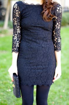 A modern black-lace dress with tights and statement jewelry. Semi Dresses, Tight Dresses, Cute Dresses, All Fashion, Passion For Fashion, Dallas Wardrobe, Wolford Tights, Blue Tights, Lace Dress
