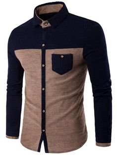 Corduroy Spliced Color Block Pocket Shirt