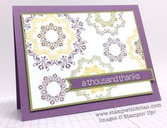 Daydream Medallions, Lots of Thanks, Stampin' Up!, Brian King, PPA229 how simple and pretty is this! Stamp Sets:  Daydream Medallions, Lots of Thanks  Papers:  Perfect Plum, Old Olive, Whisper White  Inks:  Perfect Plum, Old Olive, Crushed Curry, Soft Suede  Accessories:  Stampin' Dimensionals, Hexagon punch (for banner tips)