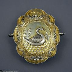 Chased silver with swan oval brandy bowl with 2 scroll handles and gilt interior by HB (conjoined), Augsburg, Germany c. 1690