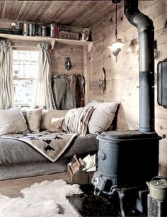 Our pot belly stove keeps our winter cabin cozy and warm...................