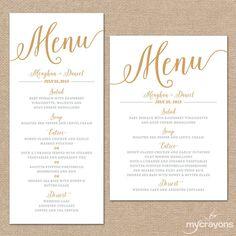 Gold Wedding Menu Card Printable Wedding Menu by MyCrayonsDesign