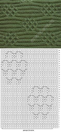 узор 190 | каталог вязаных спицами узоров