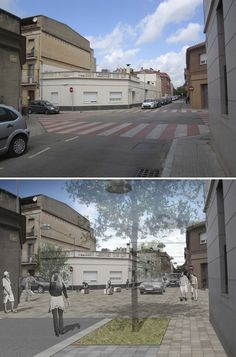 Current state and proposal for one of the intersections, Sant Feliu de Llobregat, Barcelona.