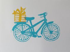 Linocut notecards, bicycle, happy birthday, anniversary, thank you, package of six