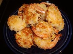 Oven-Baked Coconut Shrimp (Low-Fat). 26 large uncooked shrimp (peeled, deveined and leave tails intact)  1/3 cup cornstarch  1 teaspoon salt  1/2 teaspoon ground red pepper	 (can use more)  3 large egg whites  1 1/2 cups sweetened flaked coconut  only 1.9 grams of fat and 2.3g of sugar.