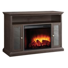 This Electric Fireplace Space Heater TV Stand 13500 Watt is the ideal solution for warmth, ambiance and an updated decor in lofts, apartments, living rooms, bas Electric Fireplace Reviews, Electric Fireplace Heater, Electric Fireplace Tv Stand, Fireplace Glass Doors, Cool Tv Stands, Traditional Fireplace, Traditional Furniture, Flat Panel Tv, Glass Cabinet Doors