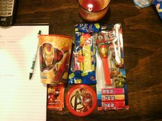 Iron man party favors... All these I've seen at walmart!