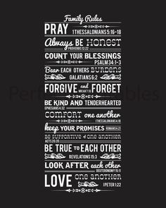 Family Rules with bible verses. - like the chalkboard look of this print