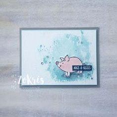 Stampin' Up! - This Little Piggy, Powder Pink, watercoloring - ZoKris