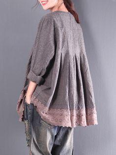 Vintage Women Plaid Lace Patchwork Long Sleeve Blouses - Banggood Mobile