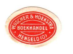 NL -Hengelo (O.) -Boekhandel Peuscher & Hoekstra ovaal -rood-wit) (ca 1919) (collection : EEcollects)
