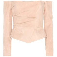 Balmain Leather Top (11.360 BRL) ❤ liked on Polyvore featuring tops, balmain, neutrals, leather top, pink top and pink leather top