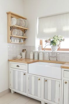 Coastal Kitchen Inspiration - Dove Grey Paint from Susie Watson Designs