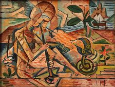Kubista, Bohumil (1884-1918) - 1915 Fakir Taming Snakes (National Gallery of Prague, Czech Republic) by RasMarley, via Flickr