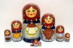 Russian Matryoshka 10pcs Bread and salt beautiful by EtsyGrail