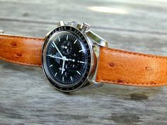 Omega Speedmaster. Looks surprisingly handsome with an ostrich strap.