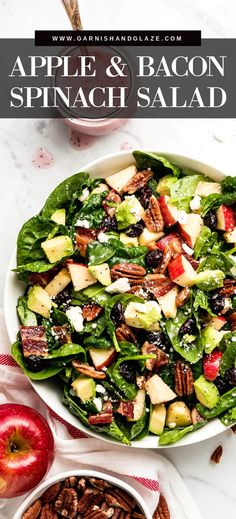 Bacon Spinach Salad, Spinach Salad Recipes, Healthy Salad Recipes, Winter Salad Recipes, Healthy Snacks, Salad Nutrition Facts, Kitchen Recipes, Cooking Recipes, Salads For A Crowd