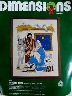 Christmas Crewel Embroidery Kit, Nativity Scene Baby Jesus Mary Joseph, Dimensions 8001, Linda Powell, Persian Yarns, Nativity Stitchery Kit by CatBazaar on Etsy