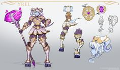 Concept work for Heroes of the Storm. Yrel was the first hero I worked on, she was a blast. Some of her early concepts explored her hammer breaking into shards and reforming. Character Poses, Character Concept, Character Art, Concept Art, Dnd Characters, Fantasy Characters, Female Characters, Dnd Elves, Female Knight