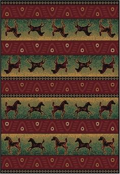 $89.99 Running Thunder Horse Rug Features: banner stripes of the horses in between iconic stripes adding to the western theme any cowboy or cowgirl would love coming home too! Our western rugs are the perfect centerpiece for your rustic decor at a perfect price point!