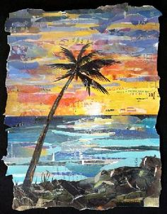 "Eileen Downes. ""My collage artwork is composed of many layers of torn paper.  I use torn magazine papers as my ""palette of paint"" working the image by adding and subtracting tonal values of paper until I create the desired effect.  I enjoy how words, phrases, and imagery from the magazine papers appear almost magically between the edges of the torn paper adding to the meaning of the piece...."""