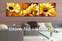 Framed 3 Panels Large Sunflowers Painting 3 Piece Wall Art Canvas Picture Flower Home Decoration L0093-in Painting & Calligraphy from Home & Garden on Aliexpress.com