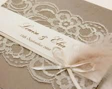 lace and feathers wedding invitations ♥♥