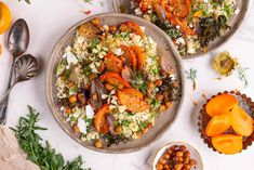 Roasted Persimmon Couscous Salad Persimmon Recipes, Couscous Salad, Canned Chickpeas, Curry Powder, Dried Cranberries, Serving Plates, Coriander, Tray Bakes, Feta