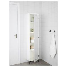 IKEA GODMORGON high cabinet with mirror door You can mount the door to open from the right or left. Ikea Bathroom, Bathroom Furniture, Bathroom Interior, Bathroom Storage, Small Bathroom, White Bathroom, Bathroom Vanities, Bathroom Ideas, Bathroom Designs