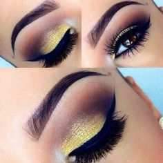 Yellow shimmer eyeshadow with chocolate  really nice