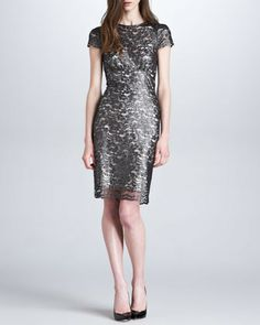 L'Agence Metallic Lace Short-Sleeve Dress