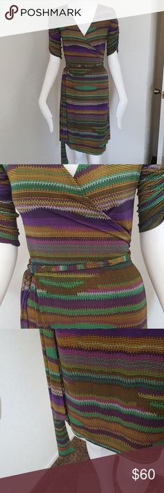 Veronicam multicolored wrap dress Like new,worn once. Purple ,white ,gold, yellow ,green, pink. Veronica M Dresses Midi