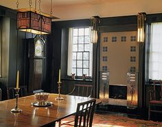 The Hill House in Helensburg (Scotland) was created between and is considered to be one of the most important creations of Scottish architect Charles Rennie Mackintosh. This picture shows the interior view of the dining room, photo © Prestel Charles Rennie Mackintosh Designs, Charles Mackintosh, Art Nouveau, Arts And Crafts Interiors, Glasgow School Of Art, House On A Hill, Art Deco Design, Interior Design Inspiration, Elegant