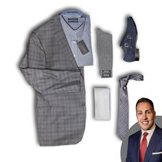 "::: Attire by Alex ::: ""This cool toned clothing combination is ready for your wardrobe. The Hart Schaffner Marx New York Cut with a Glen Plaid Suit pairs perfectly with the Forsyth of Canada (non-iron) checked button-up La Vita Di Moda Silk Tie and Cotton Handkerchief. Anchor this down with a pair of St. Croix Made in Italy Socks and Stacy Adams Double Monk-Strap Suede Shoes. Enjoy."" --- Alex Dahl 