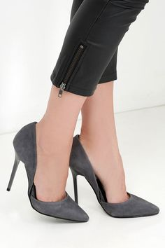 Grey Suede Leather D'Orsay Pumps//