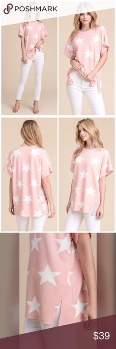 ARRIVED Star ⭐️ Tunic in French Terry! We love this beautiful blush - French Terry- Star Print Tunic! Super Soft and so Cute with Detailed Hem! Tops Tunics