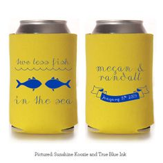 Two Less Fish in the Sea - Custom Koozie - Wedding Favor - Party Gift - Personalized - Seahorse - Beach Destination Wedding on Etsy, $85.00