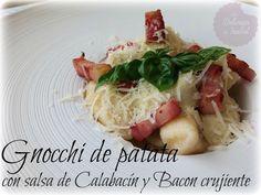 Gnocchi de patata con salsa de calabacín y bacon crujiente