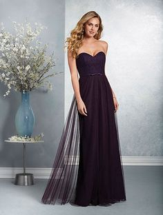 Alfred Angelo Style 7409L: strapless floor length romantic lace bridesmaid dress with sweetheart neckline and soft net skirt overlay