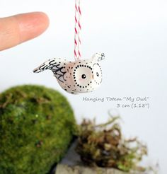 hanging totemmy little white owl omamawolf handmade sculpture in polymer clay