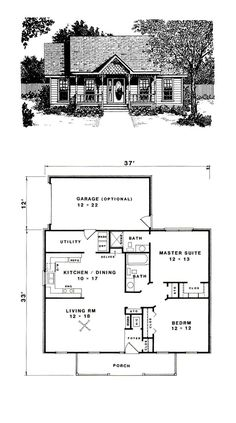 Traditional House Plan 96562 Total Living Area: 1036 SQ FT, 2 bedrooms and 2 bathrooms. Small House Floor Plans, Cabin Floor Plans, Dream House Plans, Modern House Plans, 2 Bedroom House Plans, Bungalow House Plans, A Frame Cabin, A Frame House, The Plan