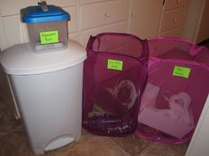 Decluttering kit assembled with lots of different bins for donation, trash, selling, and recycling to start the decluttering process {on Home Storage Solutions 101}