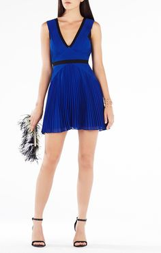 Jacelyn Color-Blocked Pleated Dress