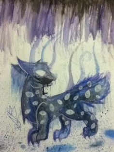 Baz fanart for @asrieldreemurr sorry for the horrible colors... watercolor hates my guts  by @Nellie B<<< ty for drawing my spoopy hyena child omg,,,,
