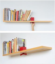 """curiositycounts: """"Adjustable bookshelf (and finalist in the Dwell design contest)? """" Speaking of good design is as little design as possible… Cool Bookshelves, Bookshelf Design, Simple Bookshelf, Book Shelves, Bookcases, Book Holders, Ideias Diy, Intelligent Design, Unique Furniture"""