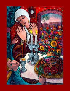 Shabbat candels oil & canvas Rabbi Yitzchak Besancon painting wood frame Jewish wall art Jewish painting Judaica shop Israeli artist by talitcreation on Etsy Jewish Crafts, Jewish Art, Shabbat Shalom Images, Shabbat Candlesticks, Arte Judaica, Prophetic Art, Art Themes, Oil Painting On Canvas, New Art